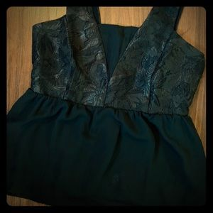 H&M Black Lace Brocade Top M